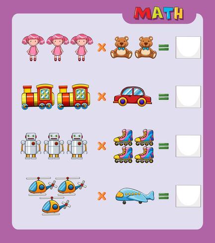 Modello di foglio di lavoro per una facile moltiplicazione
