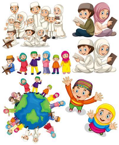 Muslimska familjer runt om i världen