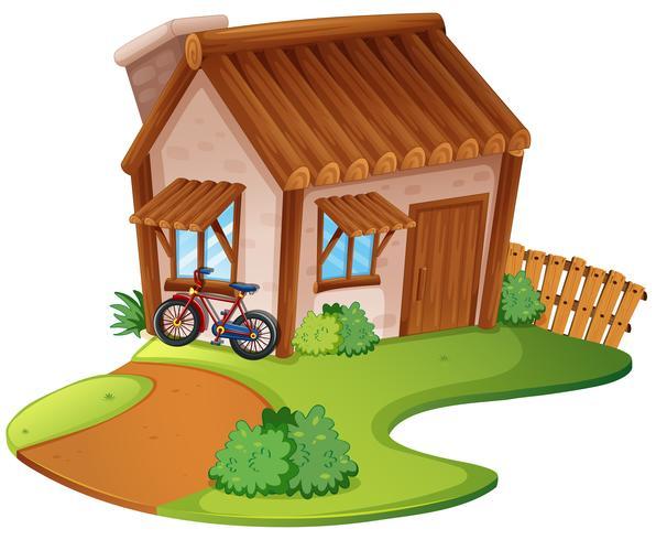 Casa de madera en la colina.