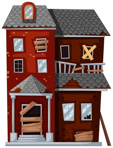 Rött hus med dåligt skick