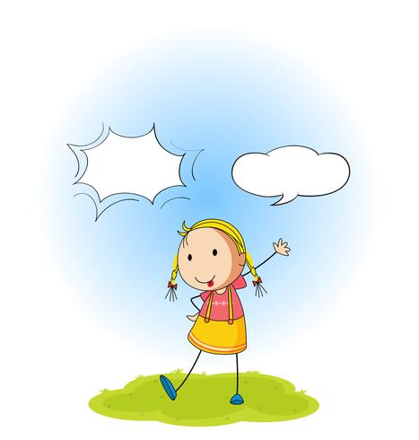 Una niña con globo de habla
