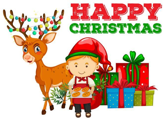 Christmas theme with baker and reindeer