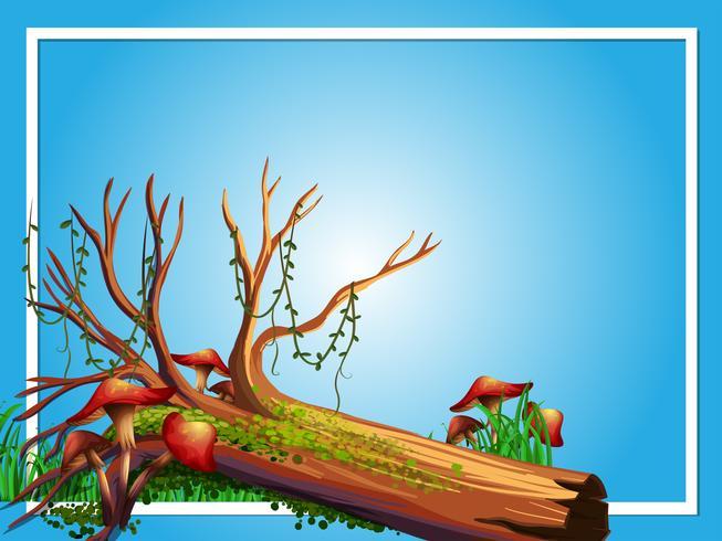 Border template with log and mushroom