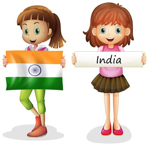 Girls with flag of India vector