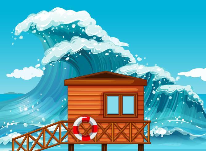 Lifeguard hut by the ocean vector