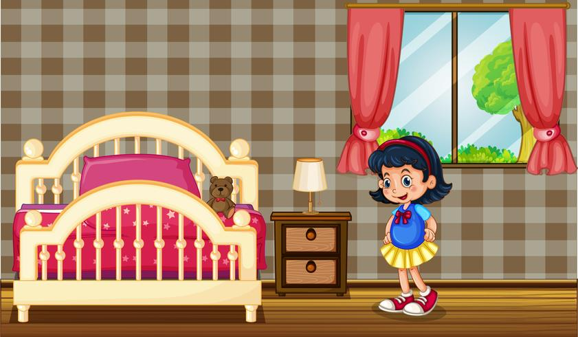 Little girl in bedroom vector