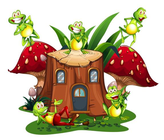 Happy frogs on wooden log house