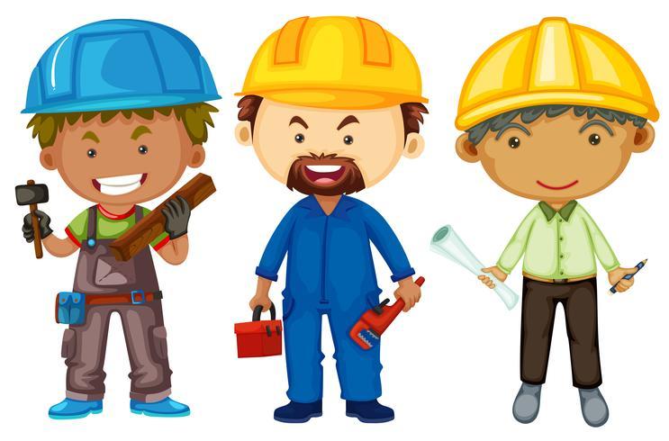 Três homens com empregos diferentes