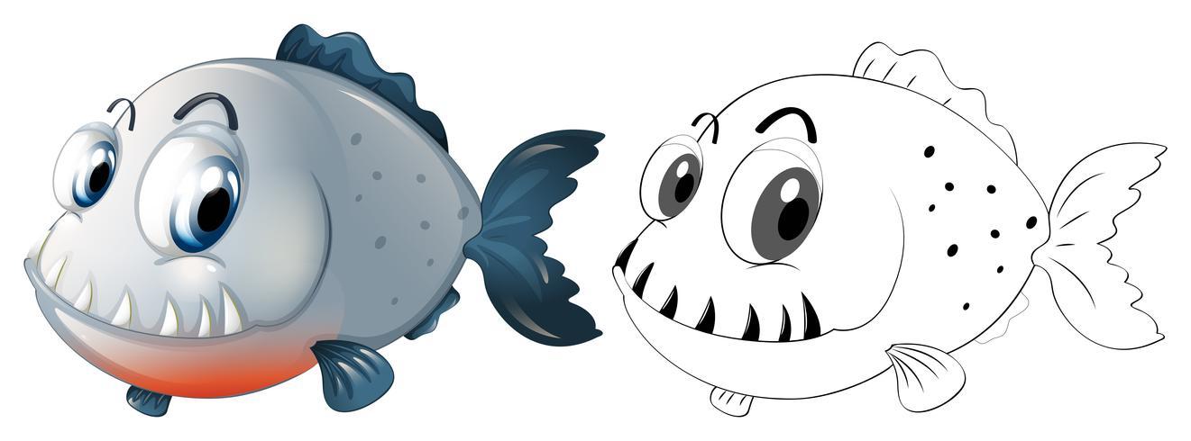 Utarbetande djur för piranha fisk vektor