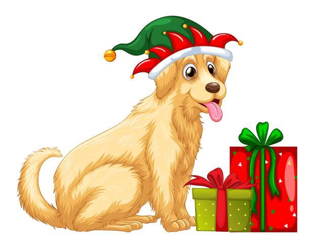 Tema navideño con lindo perro y regalos.