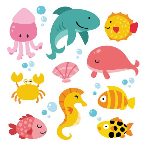 diseño de colección de animales del océano vector