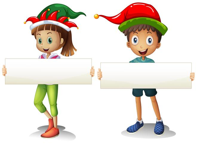 Boy and girl holding blank signs