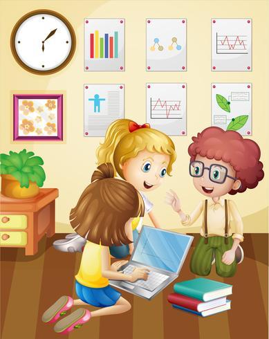 Tre bambini che lavorano in gruppo in classe