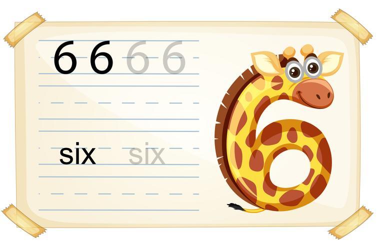 Animal number character worksheet