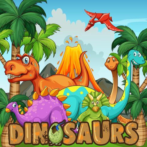 Olika typer av dinosaurier vid vulkanen vektor
