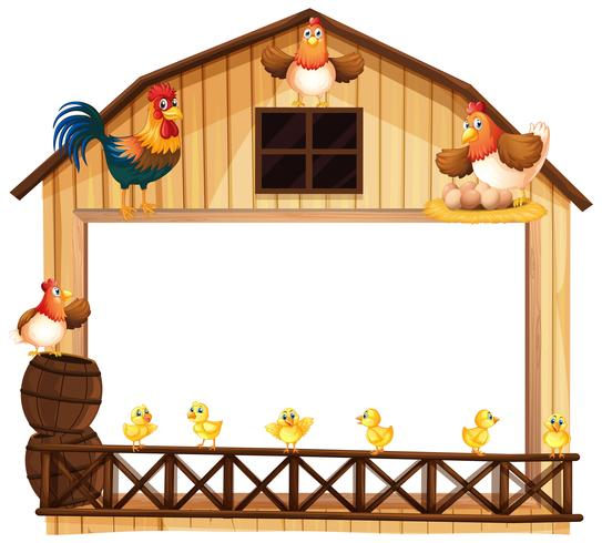 Background design with chickens on the barn