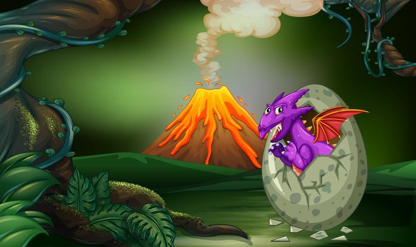Escena del bosque con huevo de eclosión del dragón.