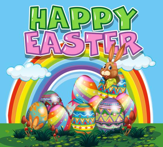 Glad påskaffisch med kanin och färgglada ägg vektor