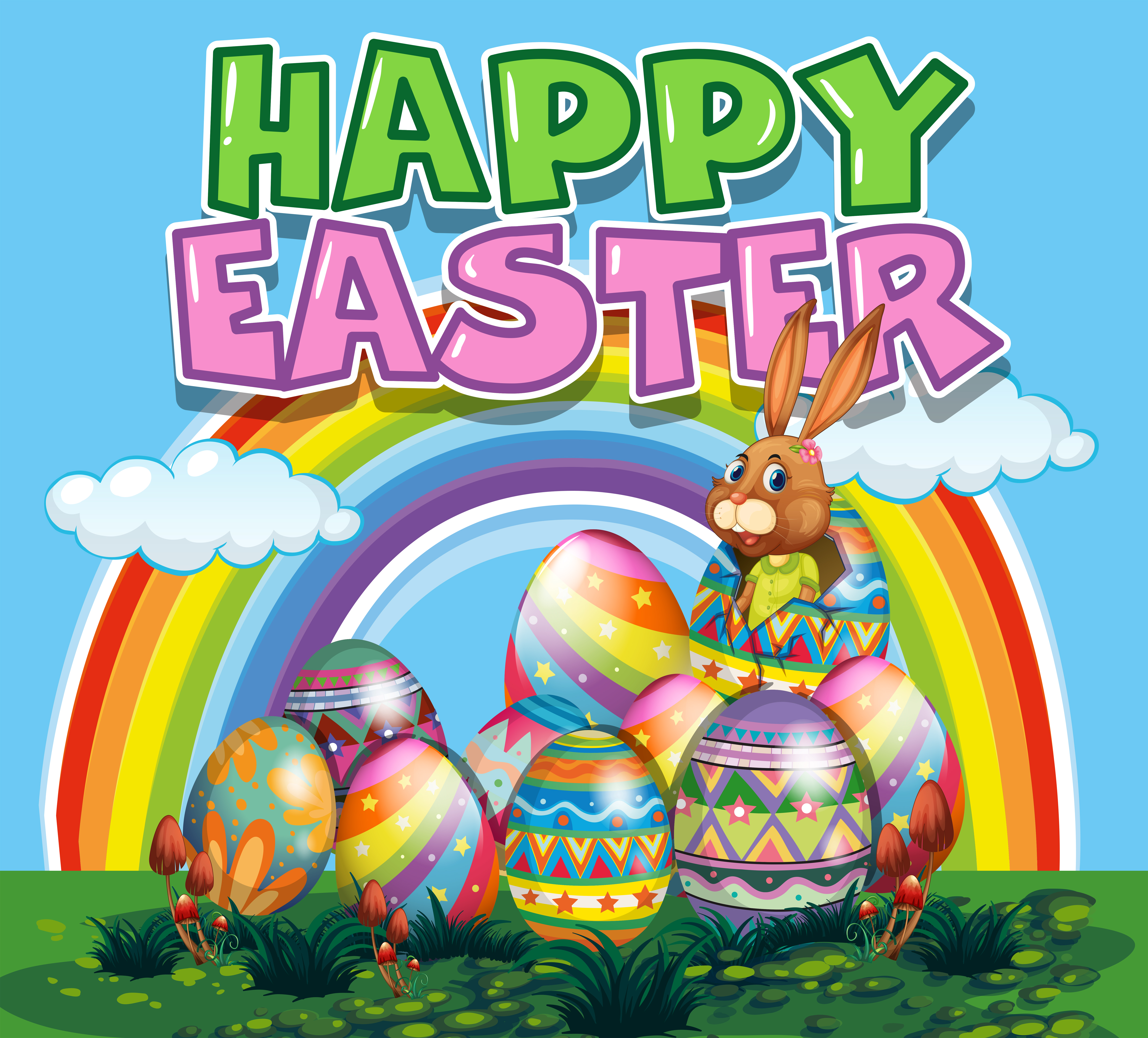 Happy Easter poster with bunny and colorful eggs 445969 ...