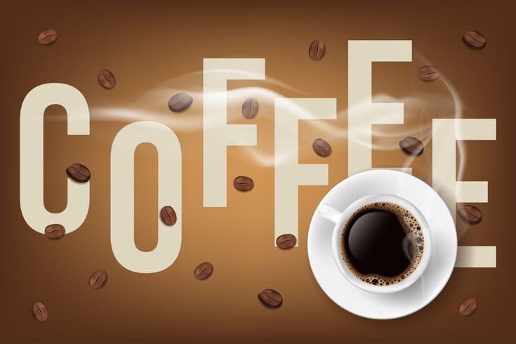 Fylld kaffekopp och kaffebönor med beskrivning. 3d vektor illustration