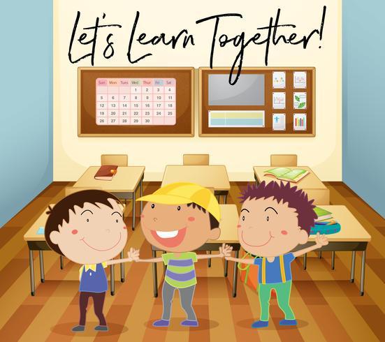 Lyckliga barn lär sig i klassrummet