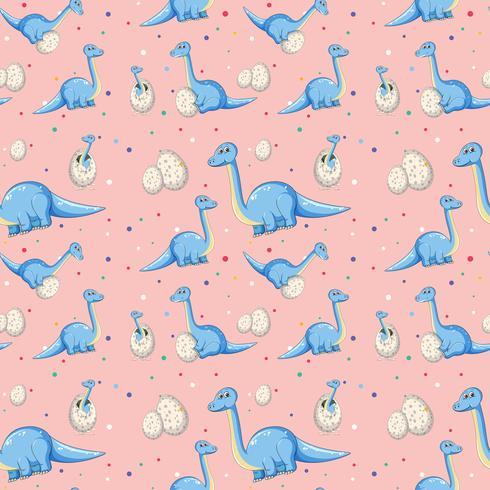 Blå dinosaur på sömlöst mönster