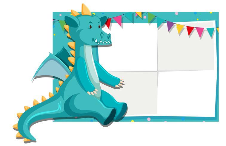 A dinosaur on paper border vector