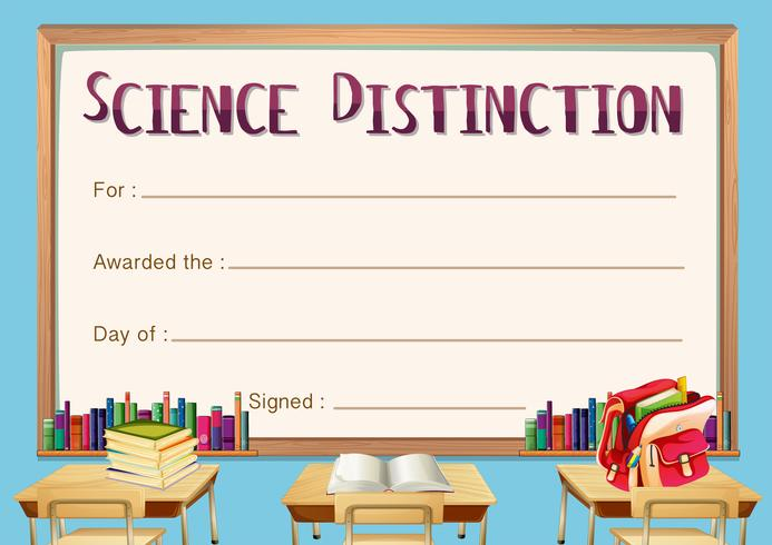 Certificate template for science distinction vector