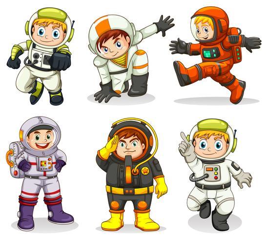 Ställ av astronaut karaktär vektor