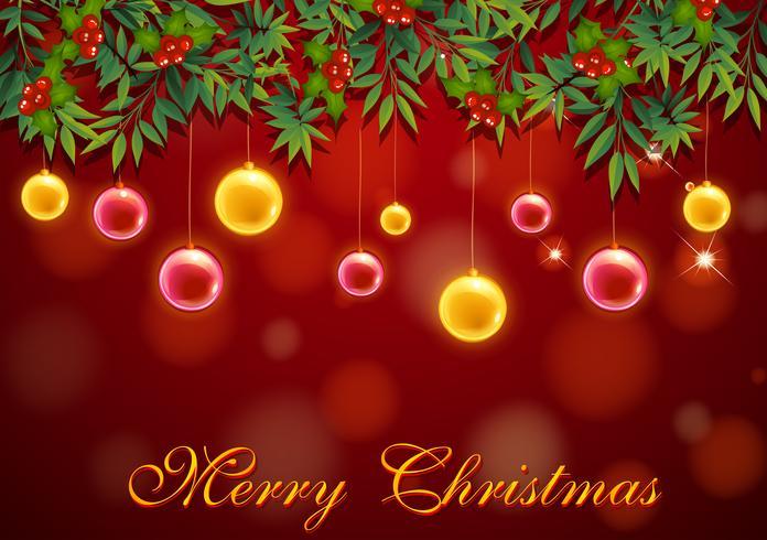 Plantilla de tarjeta de Navidad con bolas rojas y amarillas