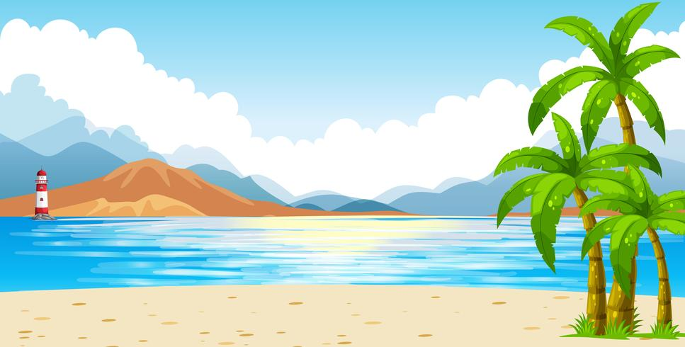 Cena oceano, com, farol, ligado, ilha