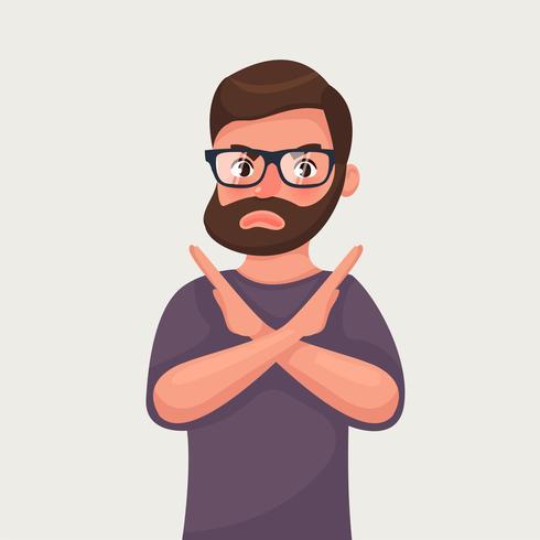 Homem mostra um gesto parar ou não. Ilustração vetorial no estilo cartoon vetor