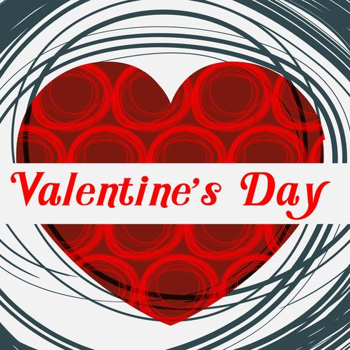 Valentine card template with red heart vector