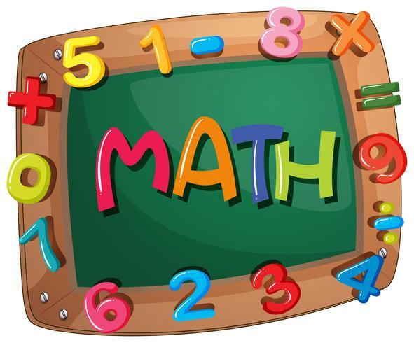Mots mathématiques sur cadre en bois avec chiffres