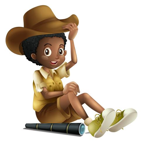 African american boy in safari outfit with telescope