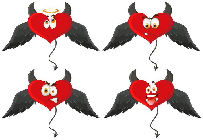 Vier duivelsharten met gelaatsuitdrukkingen