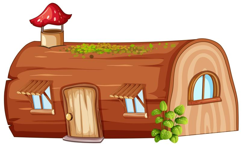 Log house on white background vector