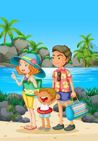 Viagem em família com os pais e a criança na praia