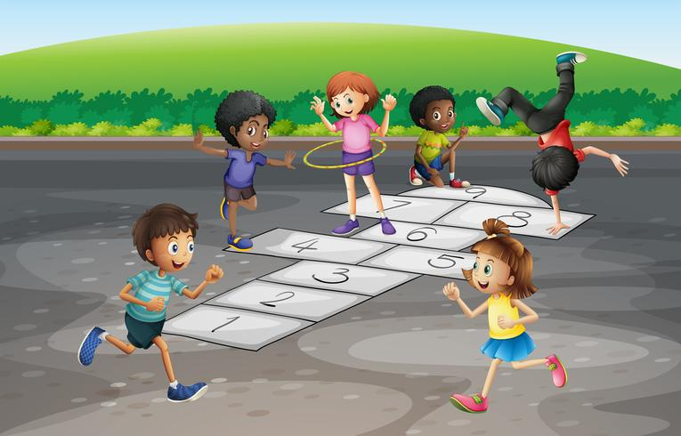 Many children playing hopscotch in the park vector