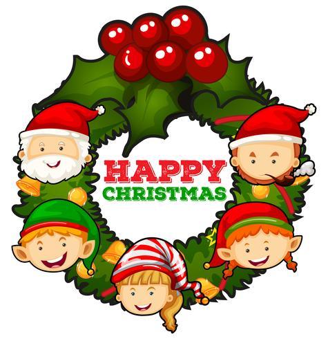 Jultema med mistletter och människor vektor