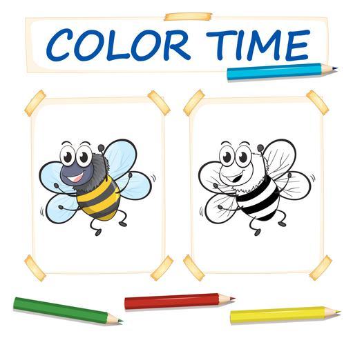 Malvorlage mit Biene fliegen