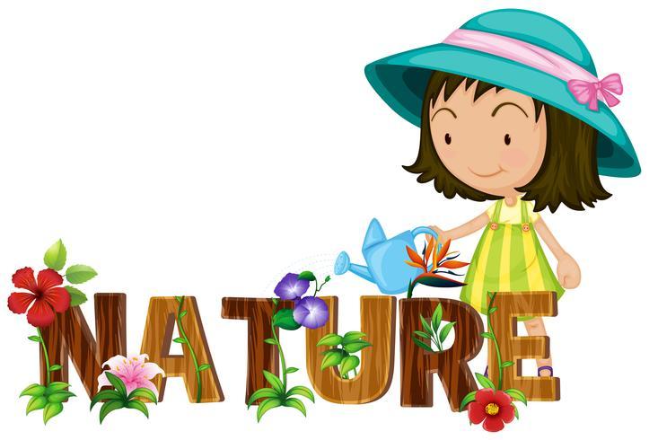 Tema della natura con i fiori d'innaffiatura della ragazza