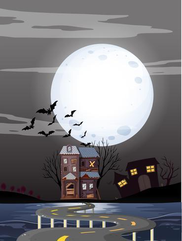Haunted hus på fullmoon natt vektor