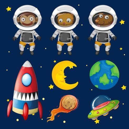 Conjunto de elementos animales espaciales.