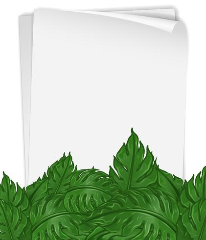 Paper template with green leaves - Download Free Vector Art