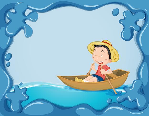 Modèle de cadre avec bateau à rames garçon
