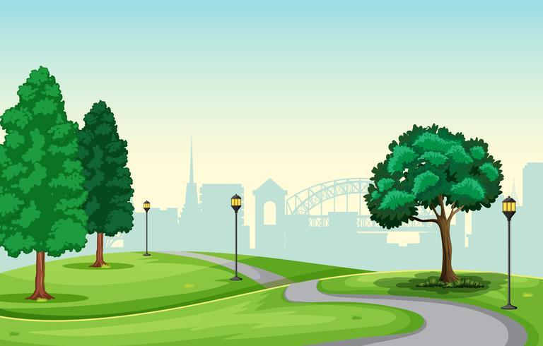 En vacker stadsparkscen