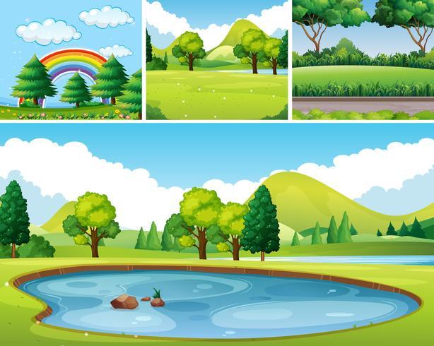 Quatre scènes de parc au moment de la journée