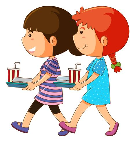 Twee kinderen met voedsel dienblad vector