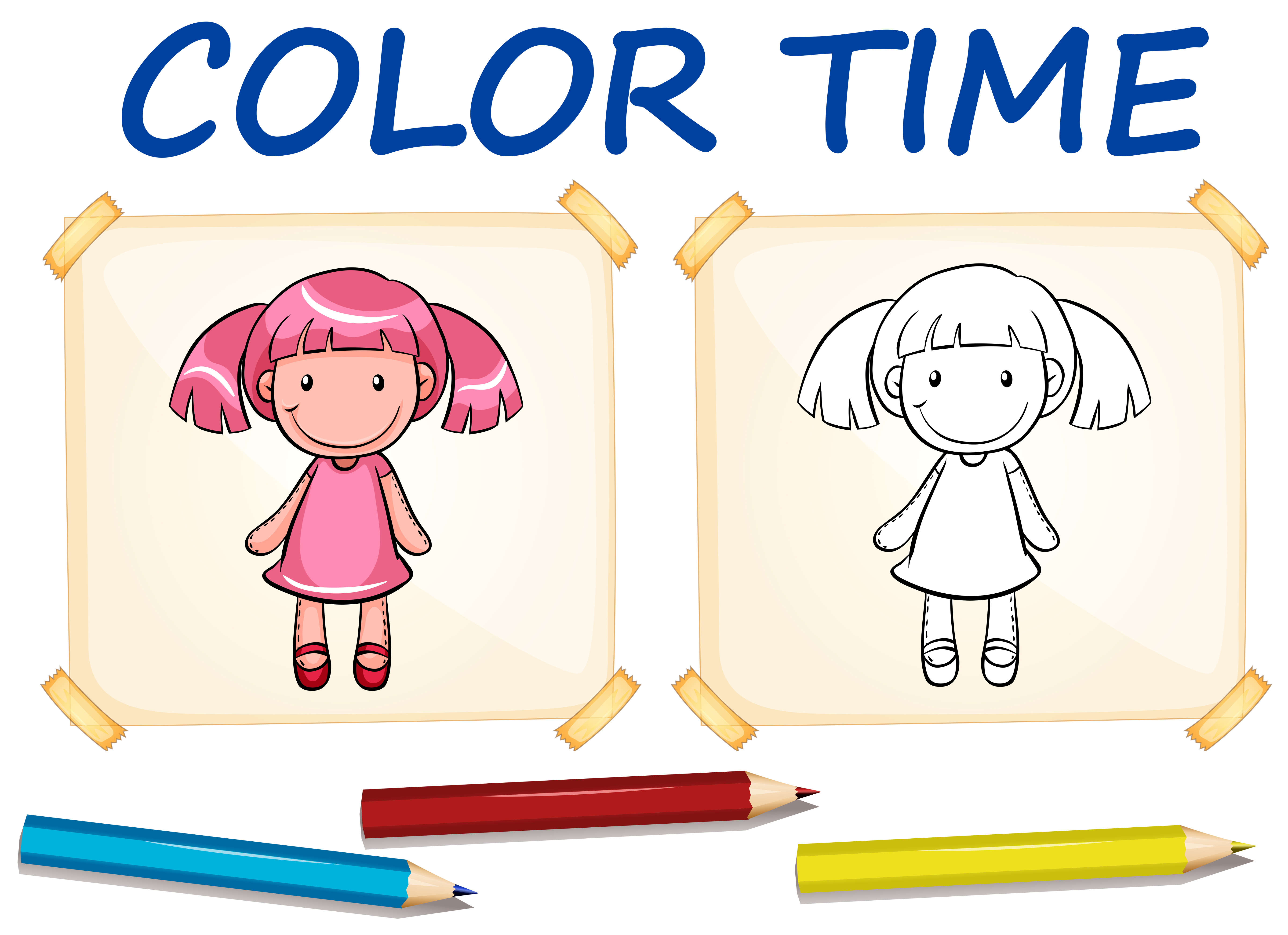 Coloring Template With Cute Doll Download Free Vectors